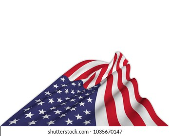 Silky flag of the United States waving from below with elegant movements. 3D rendering