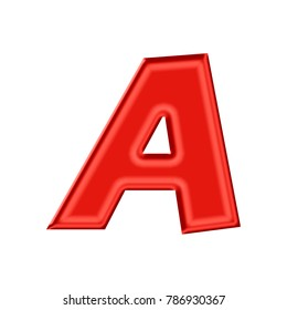 Silky red uppercase or capital letter A in a 3D illustration with a shiny rich red color satin or silk sheen and thick basic bold font style isolated on a white background with clipping path.