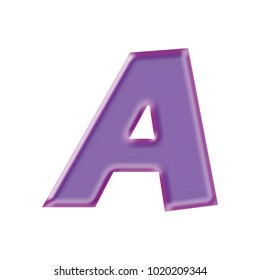 Silky shiny purple color uppercase or capital letter A in a 3D illustration with a shiny plastic silk sheen effect and basic bold font isolated on a white background with clipping path.