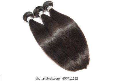 Silky straight black virgin remy human hair extension bundles