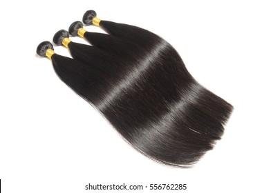 Silky straight natural black human hair extensions bundles