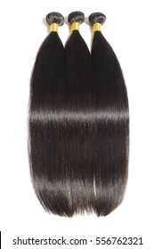 Silky straight natural black human hair extensions bundles