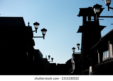 """The sillhouette of Japan famous tourist spot, """"Bell of Time"""" clock tower at Kawagoe."""