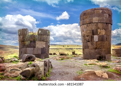 Sillustani - pre-Incan burial ground (tombs) on the shores of Lake Umayo near Puno, in Peru