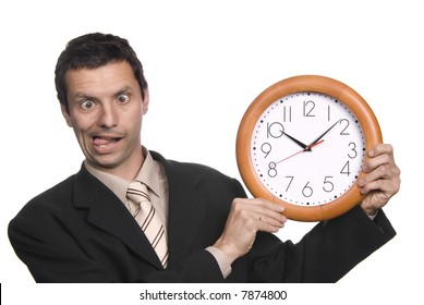 silly business man portrait with a clock