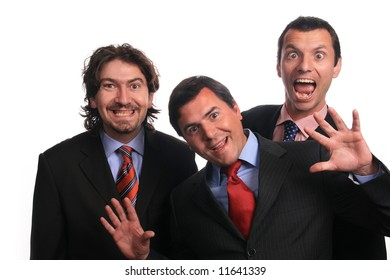 silly businessteam over white background