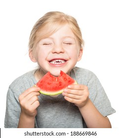Silly child with big grin holding a slice of watermelon isolated on white