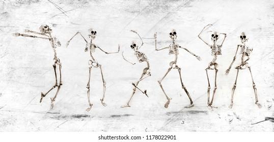 Silly dancing medical skeleton on grunge vintage background