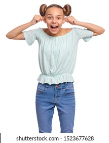 Silly teen girl making grimace - funny monkey face. Child with big ears, isolated on white background. Emotional portrait of teenager looking at camera. Attractive boy stretching ears imitating monkey