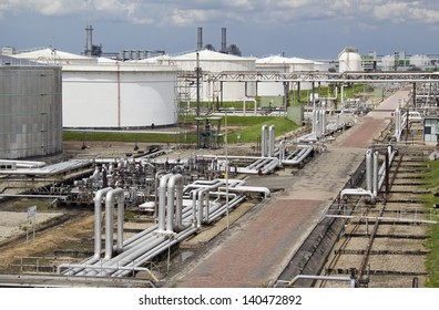 Silos and pipes of an oil refinery plant in Rotterdam, Holland