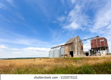 Silos for storage of cereals in the countryside in France