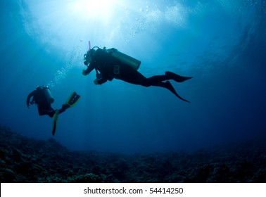 silouetted scuba diver