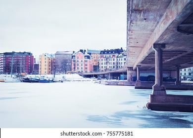 Siltavuorensalmi bridge and the embankment of Helsinki, Finland in winter.