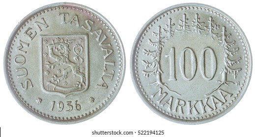 Silver 100 markkaa 1956 coin isolated on white background, Finland