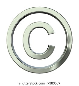 Silver 3D copyright sign