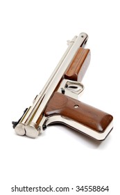 Silver air gun gun with wooden grips and pump lever on a white background