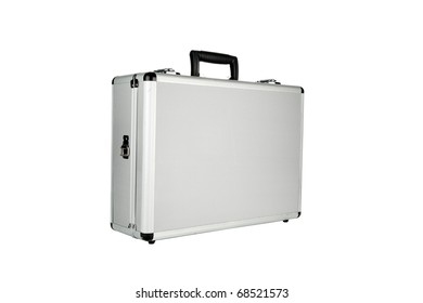 Silver aluminum briefcase isolated on white with room for your text