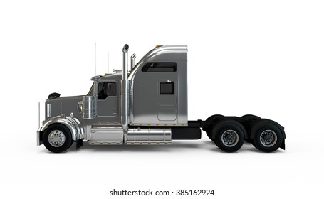 Silver american truck isolated on white background