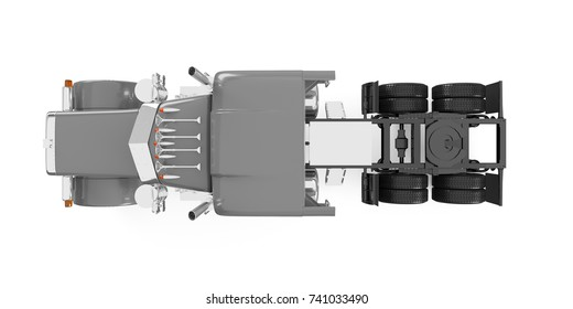 Silver American truck top view isolated on white background. 3D Rendering, Illustration.