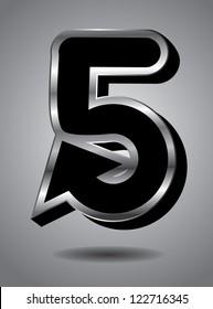 Silver Arrow Icon Symbol Number 5