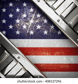 silver background painted to US flag. 3D illustration
