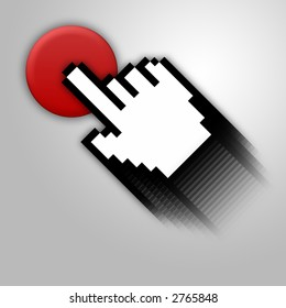 Silver background with red button and cursor.