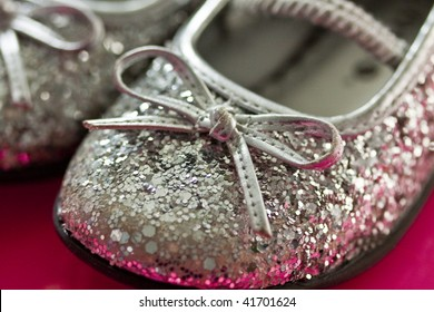 Silver Ballet Shoes with glitter and a bow