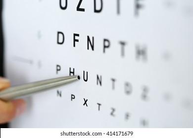 Silver ballpoint pen pointing to letter in eyesight check table. Sight test and correction, excellent vision or optician shop, laser surgery alternative, driver health certificate examination concept