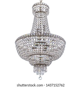Silver base chandelier on a white isolated background