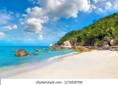 Silver Beach on Koh Samui island, Thailand in a summer day