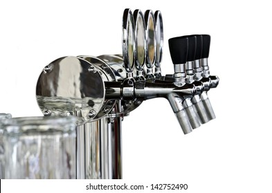 Silver beer taps close-up, isolated on a white background. Pouring column for beer.