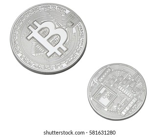 silver bitcoin isolated on white background