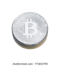 SIlver bitcoin on white background. High resolution photo.