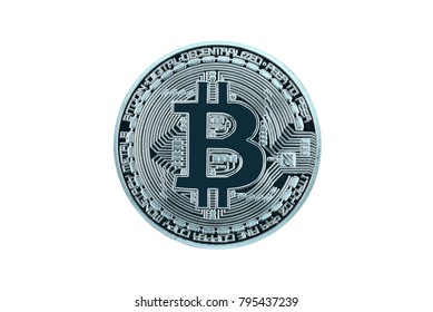 Silver bitcoin on white background, silver Bitcoin isolate. Macro shot+clipping path