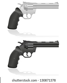 silver and black revolvers illustration isolated on white background