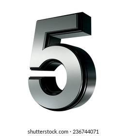 Silver with black rim high quality 3d render font type letter 5 isolated on white , uppercase