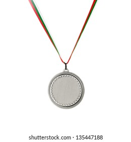 Silver blank medal isolated on white