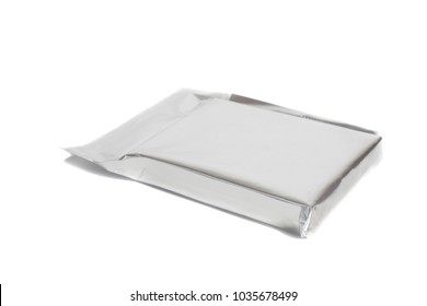 Silver blank  package isolated on white.
