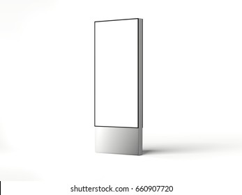 Silver blank vertical billboard isolated on white background. 3d rendering