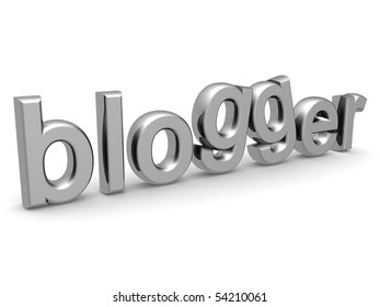 Silver blogger word isolated white background 3d render