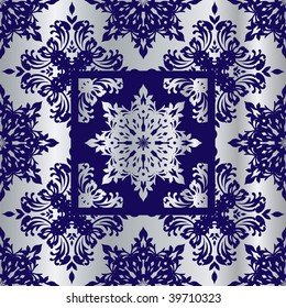 Silver and blue abstract wallpaper background with floral design