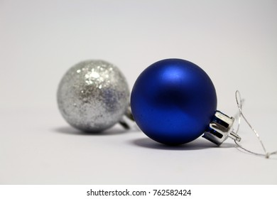silver and blue Christmas balls