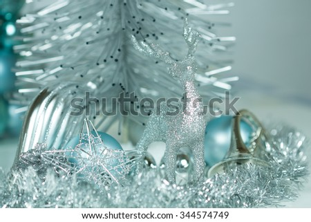 silver and blue christmas ornamentsnew year and xmas theme for your text and design - Silver And Blue Christmas Decorations