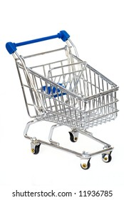Silver with blue shopping cart isolated on white.
