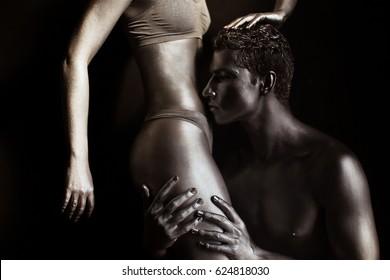 Silver Body Art Man Woman Stock Photo Edit Now 624818030
