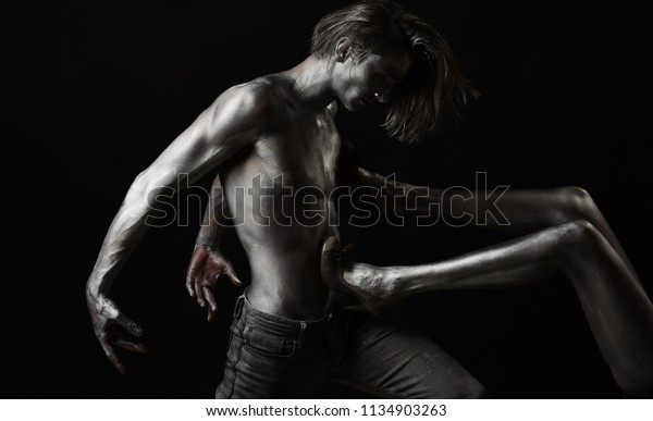 Silver Body Art Sexy Couple Love Stock Photo Edit Now 1134903263