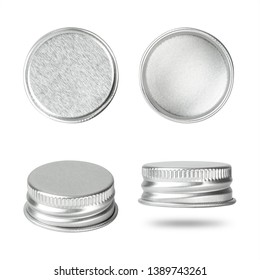 Silver bottle cap isolated on white background. Group of beverage lid for your design. ( Clipping paths )