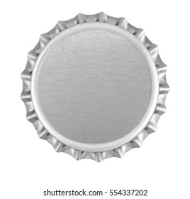 Silver bottle top isolated against white