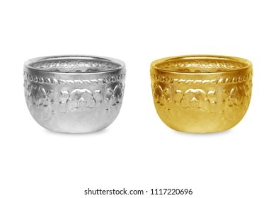 silver bowl and gold blow handicrafts isolated on white background
