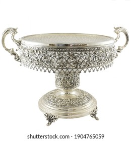 Silver bowl, rich decorated with ornaments, sugar bowl isolated on white background with clipping path, front view